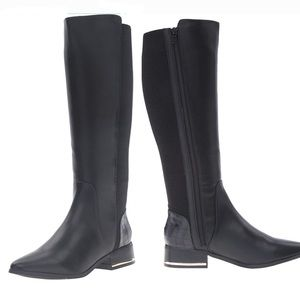 Kensie Black Tall Faye 6.5 Riding Boots